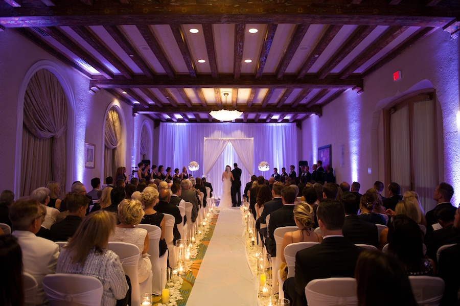 Indoor St. Pete Wedding Ceremony at Vinoy Renaissance with Candlelit Aisle