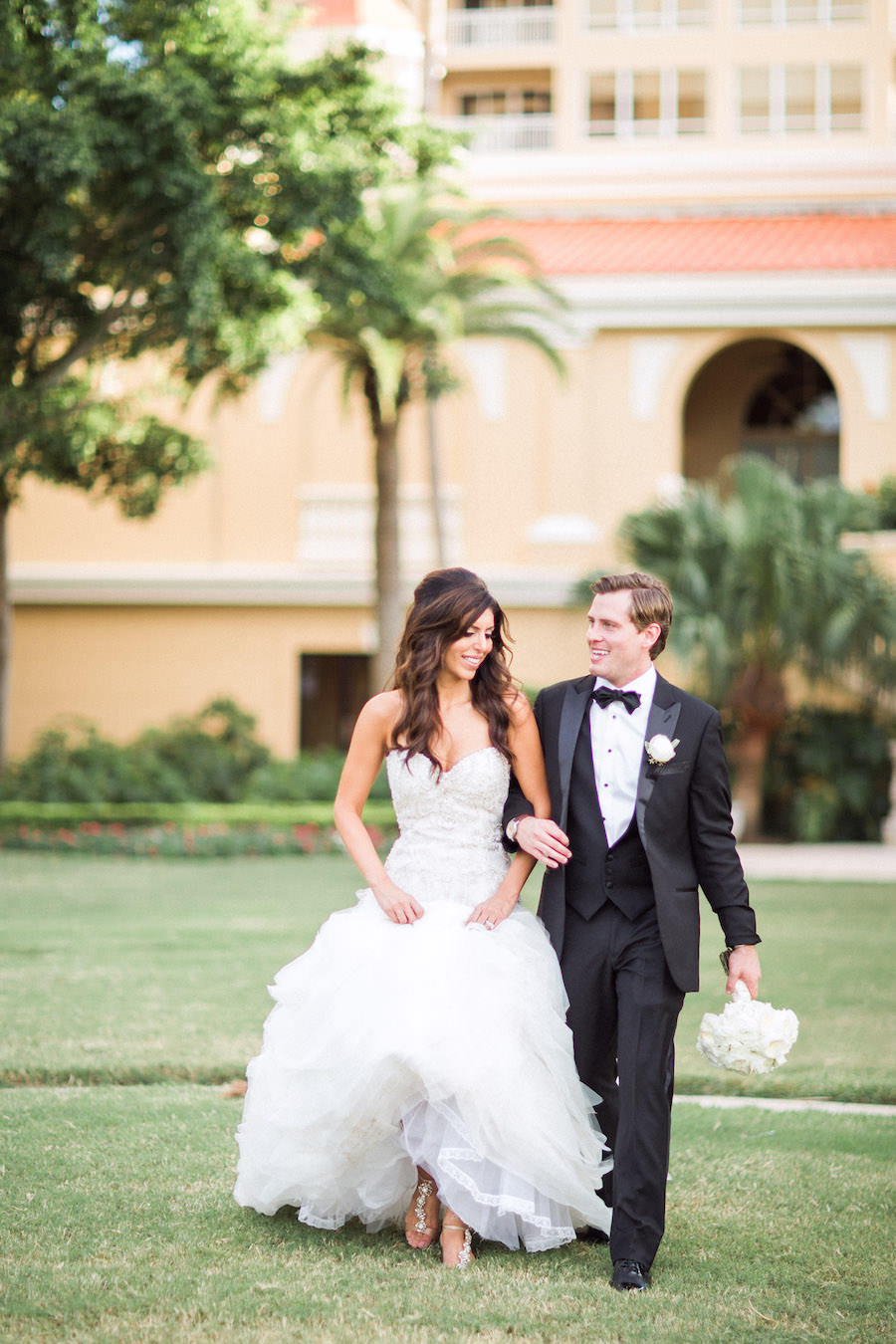 Bride and Groom Wedding Day Portrait with Strapless Sweetheart Lazaro Wedding Gown