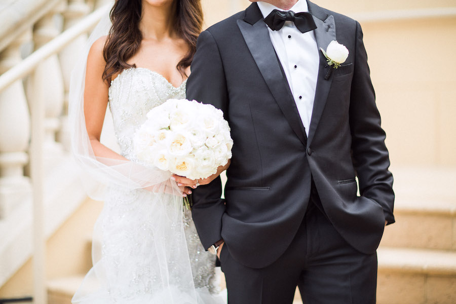 Bride and Groom Wedding Day Portrait with Ivory Peony Wedding Bouquet