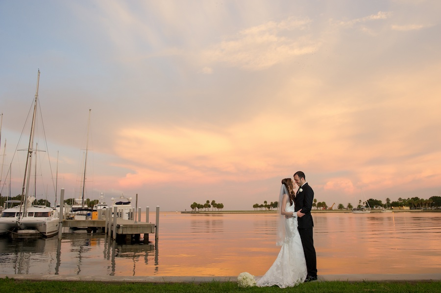 Outdoor Sunset St. Petersburg Bride and Groom Waterfront Wedding Portrait | St Petersburg Wedding Photographer Andi Diamond Photography