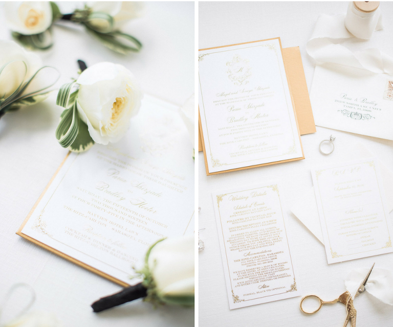 Elegant Ivory and Gold Wedding Invitation and Stationery Suite with Ivory Peonies | Sarasota Stationery Shop Invitation Galleria