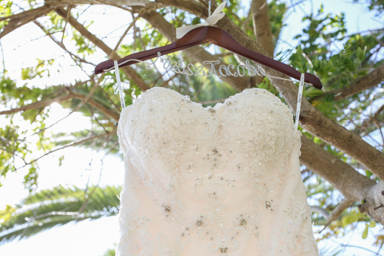 Strapless, White, Beaded Wedding Dress and Customized Wedding Hanger at St. Pete Wedding