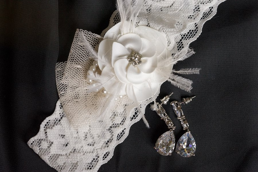 Bridal Jewelry: Diamond Earrings and White Lace Garter with Bow