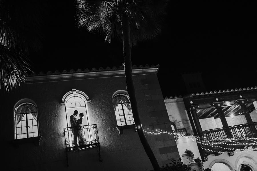 Bride and Groom Nighttime Wedding Portrait | Sarasota Wedding Photographer Brandi Image Photography