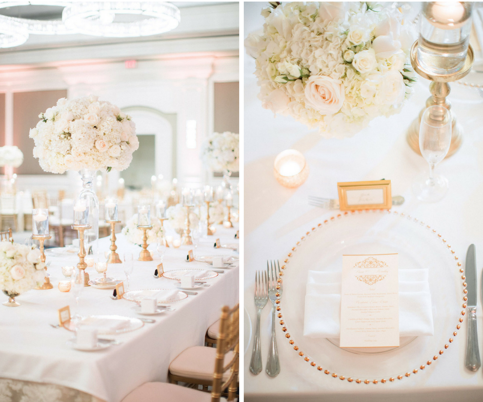 Elegant and Traditional Wedding Reception with Ivory, Gold and Blush Centerpieces, Gold Vases, Glass Beaded Chargers and Gold Menus     Sarasota Stationery Shop Invitation Galleria