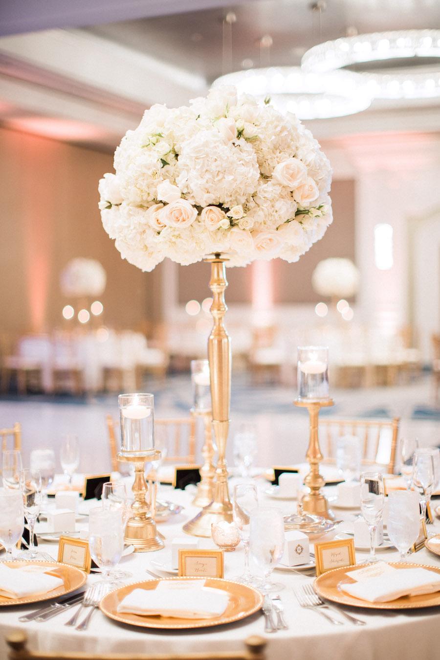 Tall Ivory Rose and Hydrangea Wedding Centerpiece Flowers on Gold Candelabra   Elegant Wedding Reception Decor Inspiration