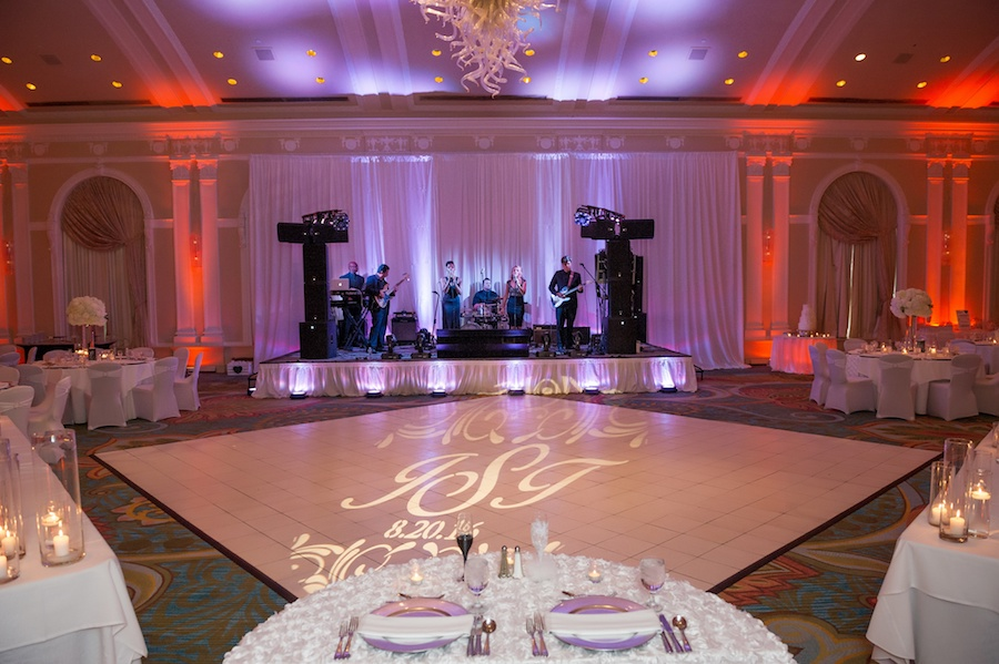 Elegant and Modern White Wedding Reception Decor Featuring Live Band and Dance Floor GOBO Light at Vinoy Renaissance Hotel | St Pete Wedding Venue Vinoy Renaissance Hotel
