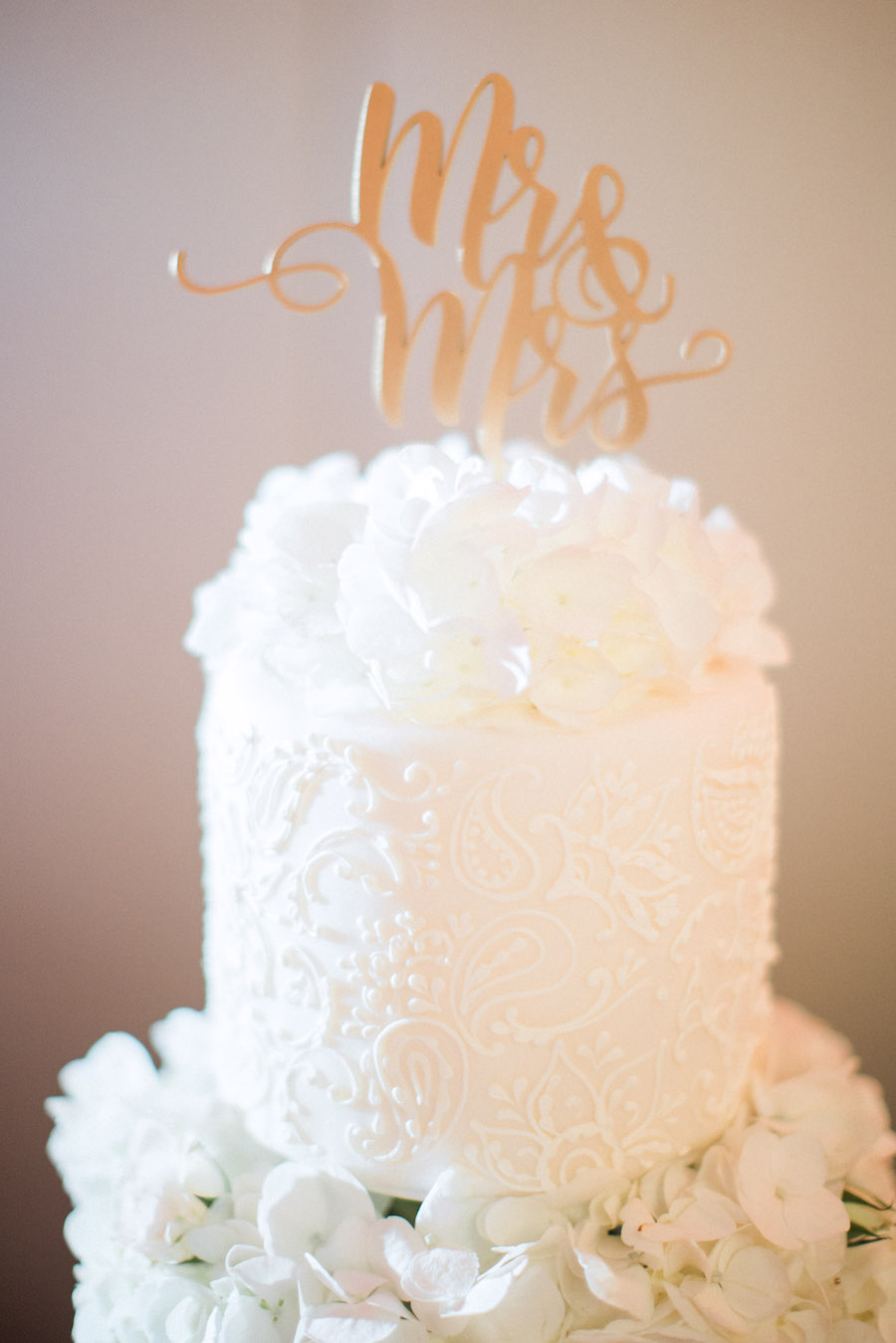 Ivory Cake Topper with Floral Monochromatic Detail Pattern and Gold Mr. and Mrs. Cake Topper