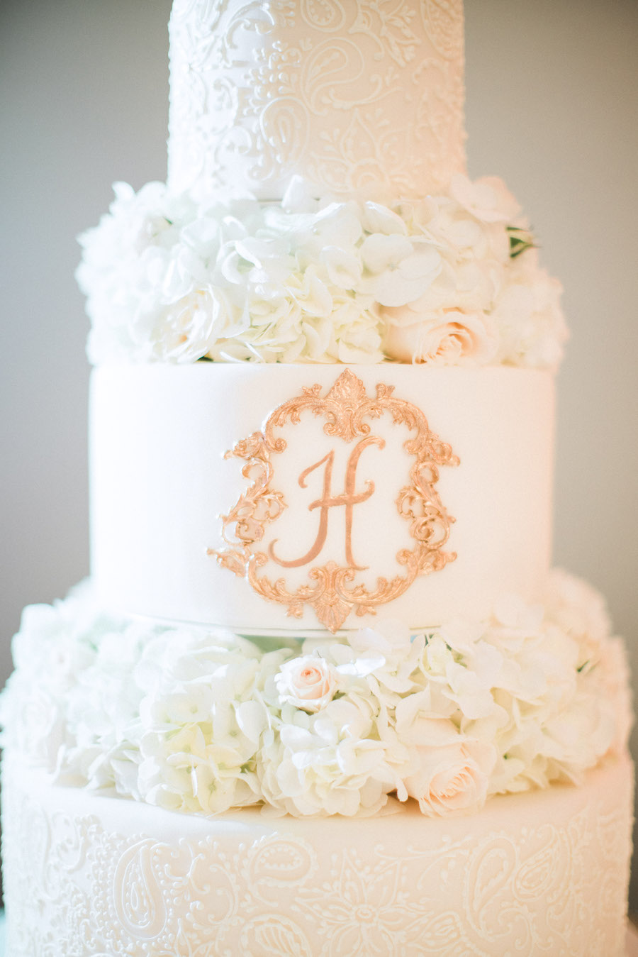 Traditional Three Tier Round White Wedding Cake with Ivory Roses and Hydrangea and Elegant Gold Monogram