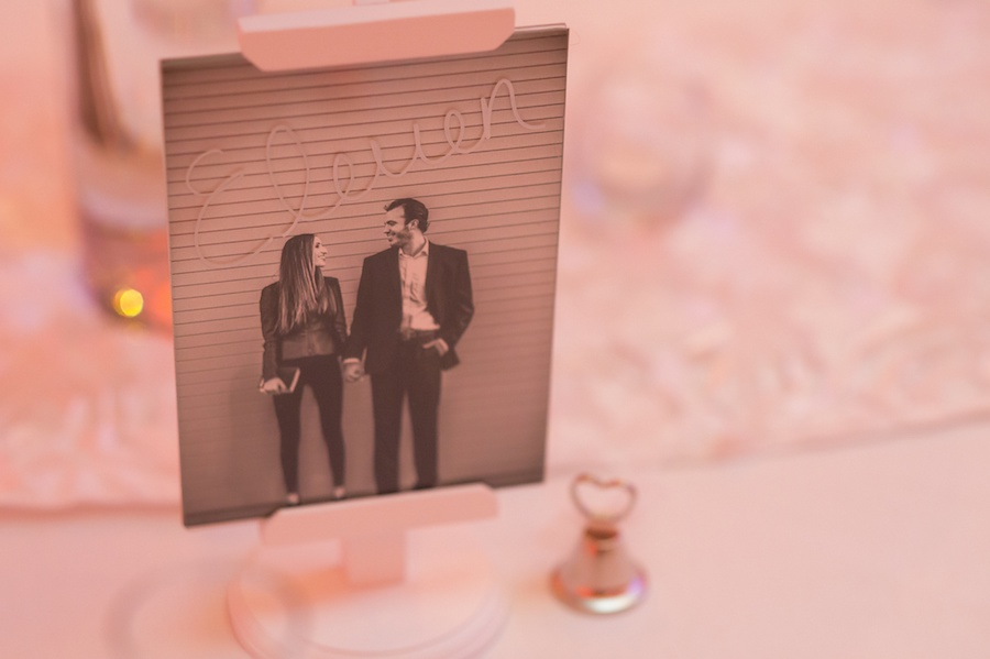 Custom Table Marker Ideas with Portraits of Bride and Groom