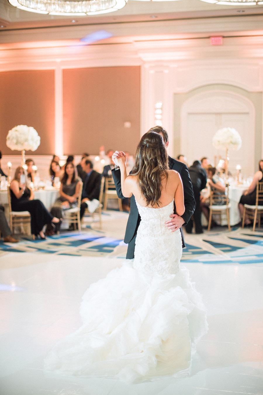 Bride and Groom First Dance on Wedding Day Portrait in Sarasota FL