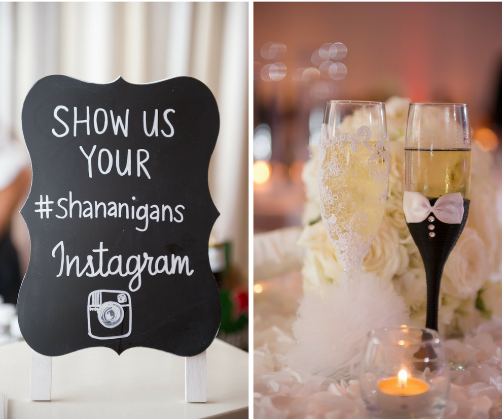 Custom Instagram Hashtag for Wedding with Bride and Groom Champagne Glasses