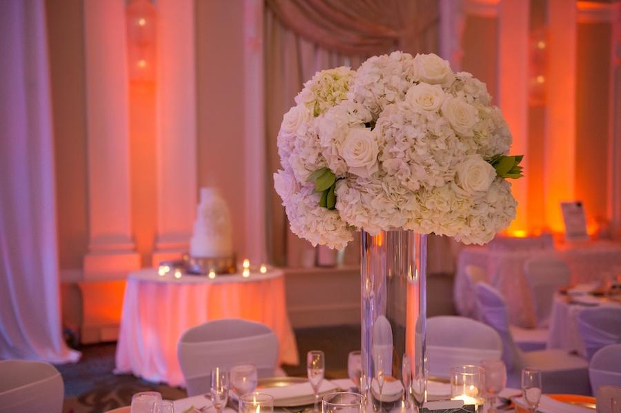 Elegant and Modern White Wedding Reception Decor Featuring White Hydrangea with White Rose Centerpieces at Vinoy Renaissance Hotel | St Pete Wedding Venue Vinoy Renaissance Hotel