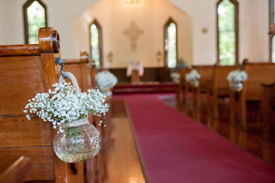 Baby's Breath Floral Pew Florals at Church Wedding Ceremony