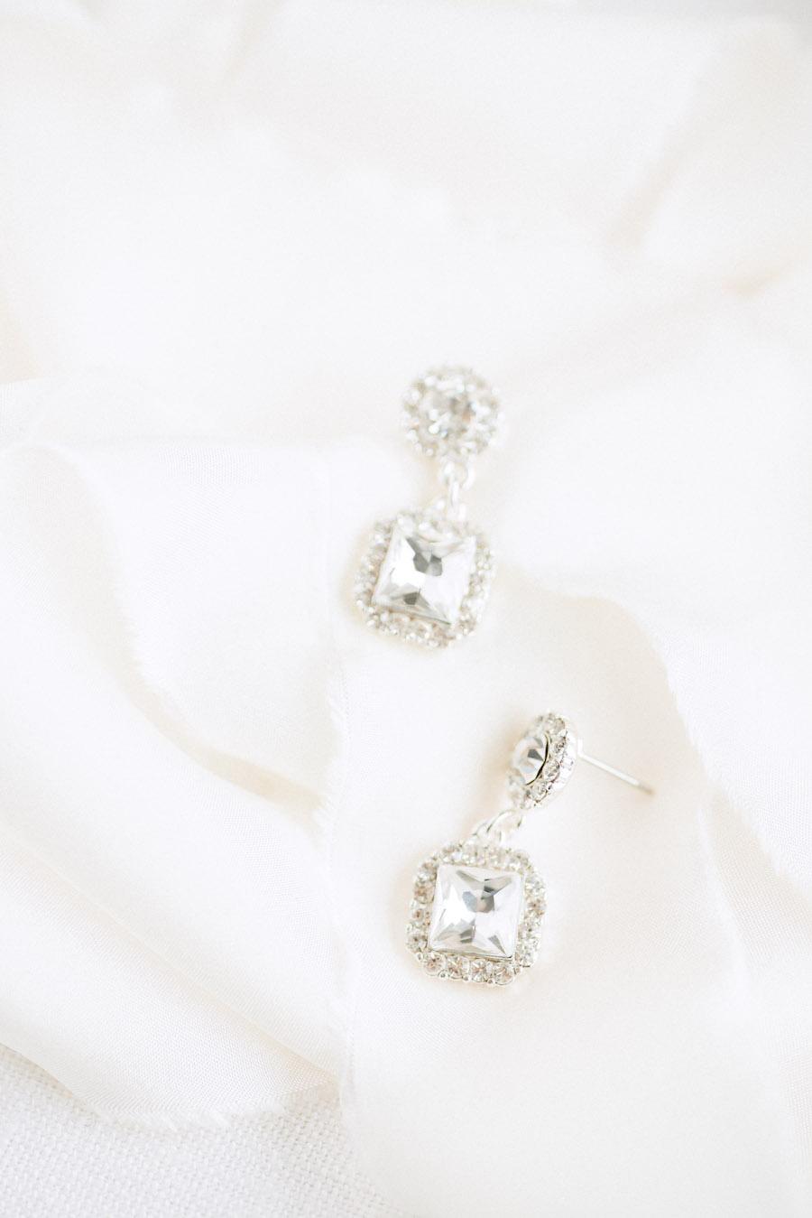 Wedding Day Jewelry   Princess Cut Diamond Drop Earrings