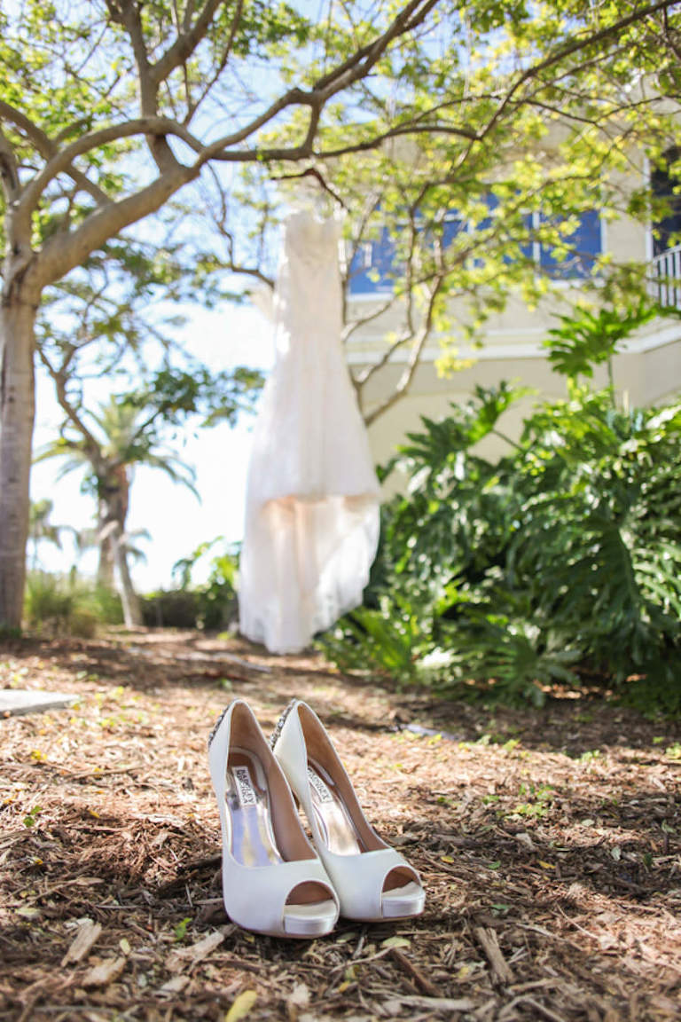 Ivory, Satin. Peep Toe Badley Mischka Wedding Hells and Strapless Ivory Wedding Dress at St. Pete Wedding
