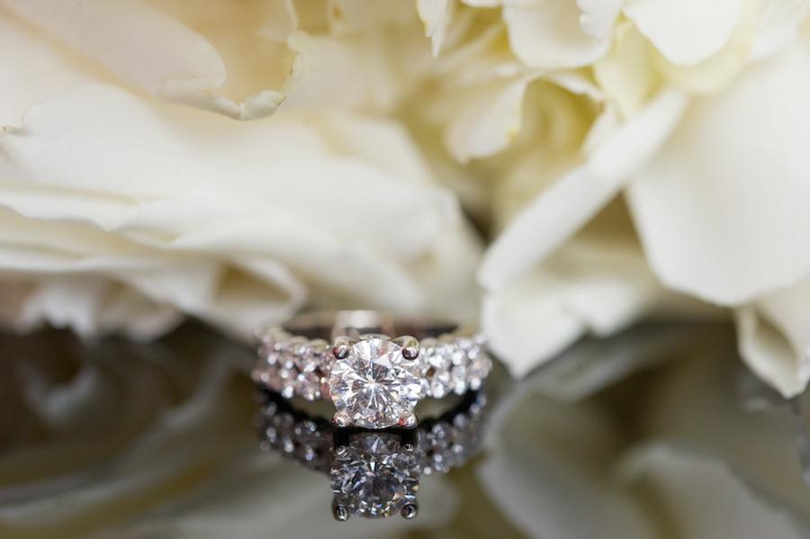 Bridal Round Diamond Wedding Engagement Band Portrait with White Flowers