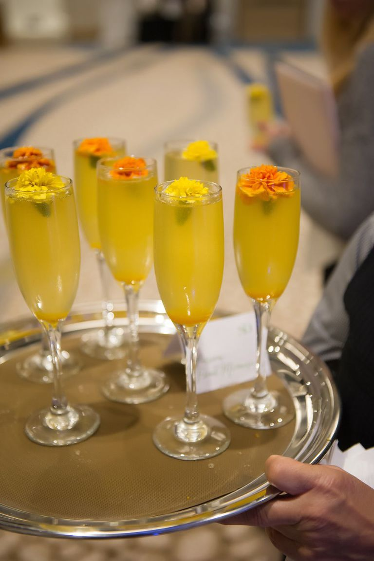 Wedding Champagne Cocktails with Flowers