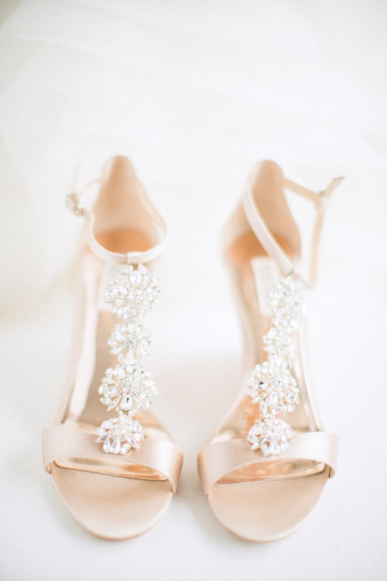 Badgley Mischka Leigh Embellished T Strap High Heel Sandals | Champagne Satin Jeweled Wedding Shoe
