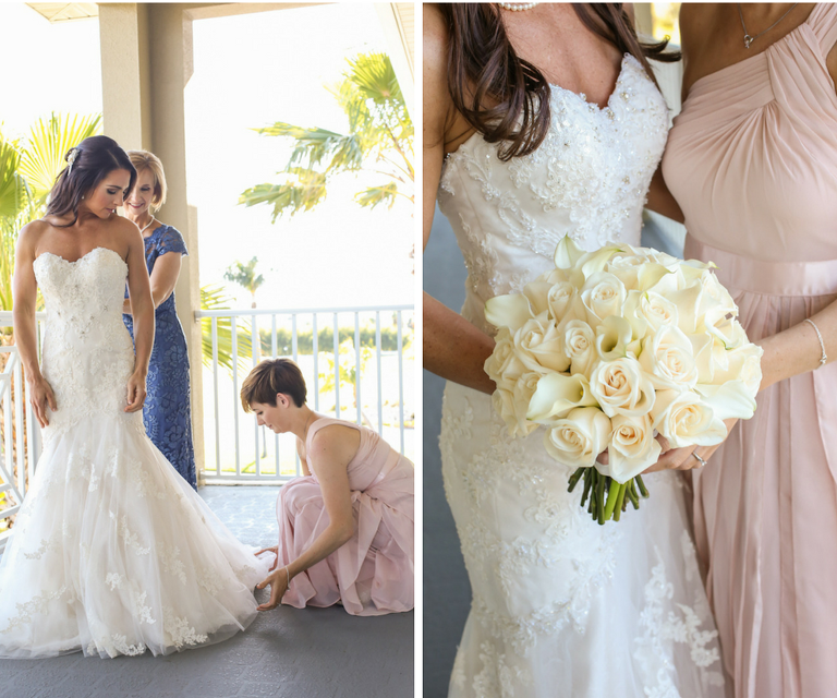 Bride Getting Dressed in Strapless, Ivory, Beaded Wedding Dress with Ivory Bouquet of Roses