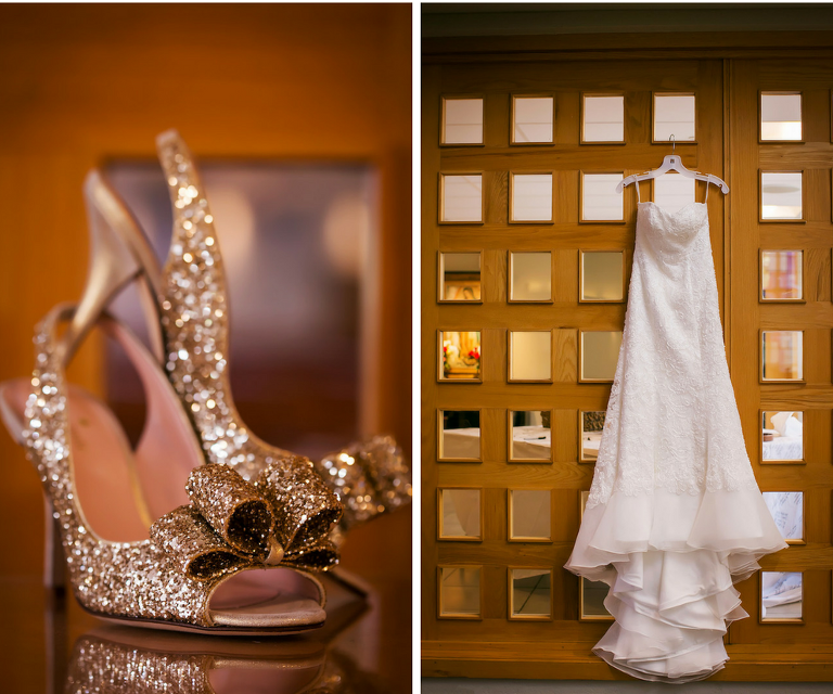 Bride Gold Sparkle Glitter Wedding Open Toe High Heel Wedding Shoes | Alfred Sung Wedding Dress
