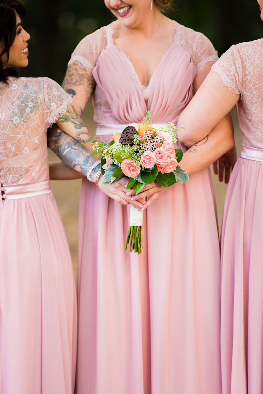 Blush Pink Bridesmaids Dress with Lace Open Back Design with Pink ...