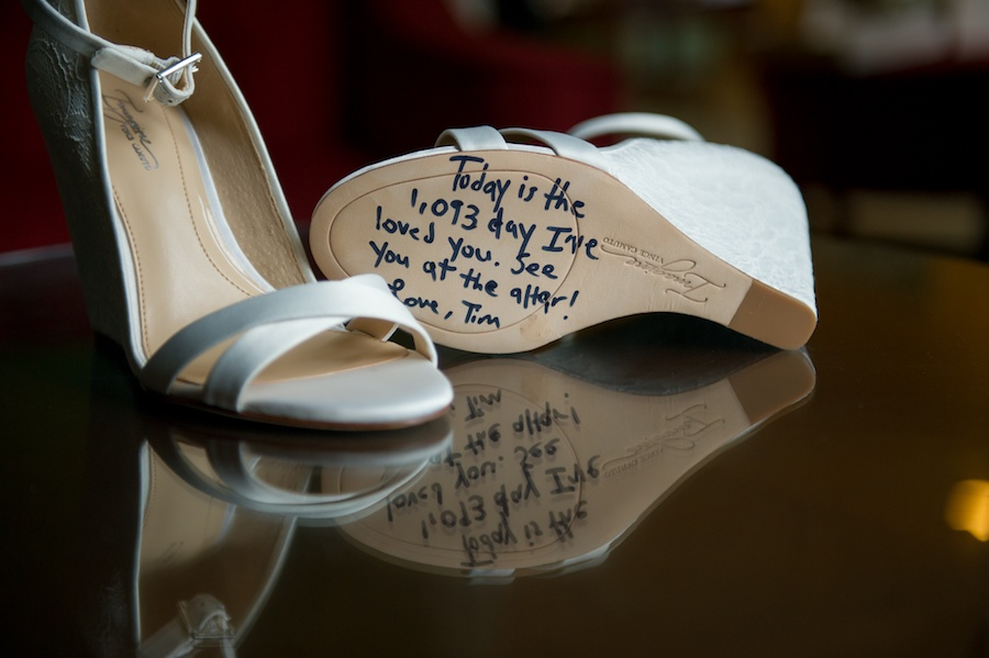 White-Ivory Open Toed Wedding Shoes with Note from Groom