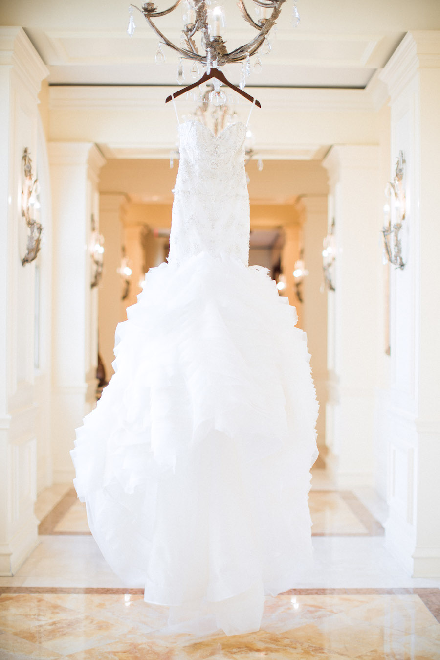 White Beaded Trumpet Style Lazaro Wedding Gown with Horsehair Skirt