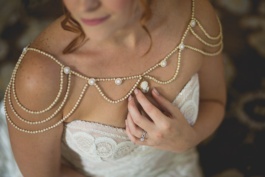 Art Deco Inspired Bridal Portrait with Victorian Lady Cameo Ivory Carnelian Antique Gold Filigree Pearl Pendant and Ivory Strapless Wedding Gown | Sarasota Wedding Photographer Brandi Image Photography
