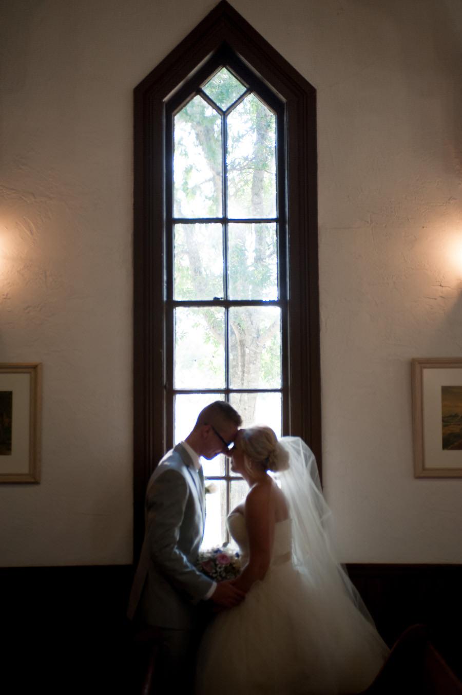 Bride and Groom Wedding Portrait at Dunedin Historic Wedding Ceremony Church Venue St. Andrew's Memorial Chapel