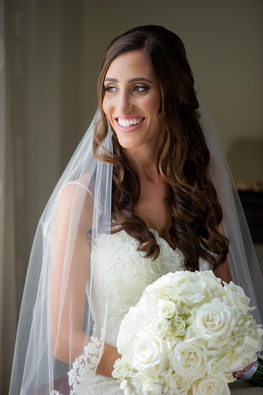 Bridal Wedding Portrait of Bride in Ivory Wedding Dress with White and Ivory Wedding Bouquet | St. Petersburg Wedding Photographer Andi Diamond Photography