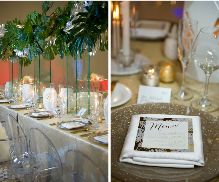 Modern Gold South Beach Inspired Wedding Reception Decor with Ghost Chairs from A Chair Affair, Tall Palm Leaf Centerpieces, Gold Menu Cards and Chargers and Gold Linens from Over the Top Linen Rentals | Clearwater Beach Wedding Venue Wyndham Grand | Wedding Planner Parties a la Carte