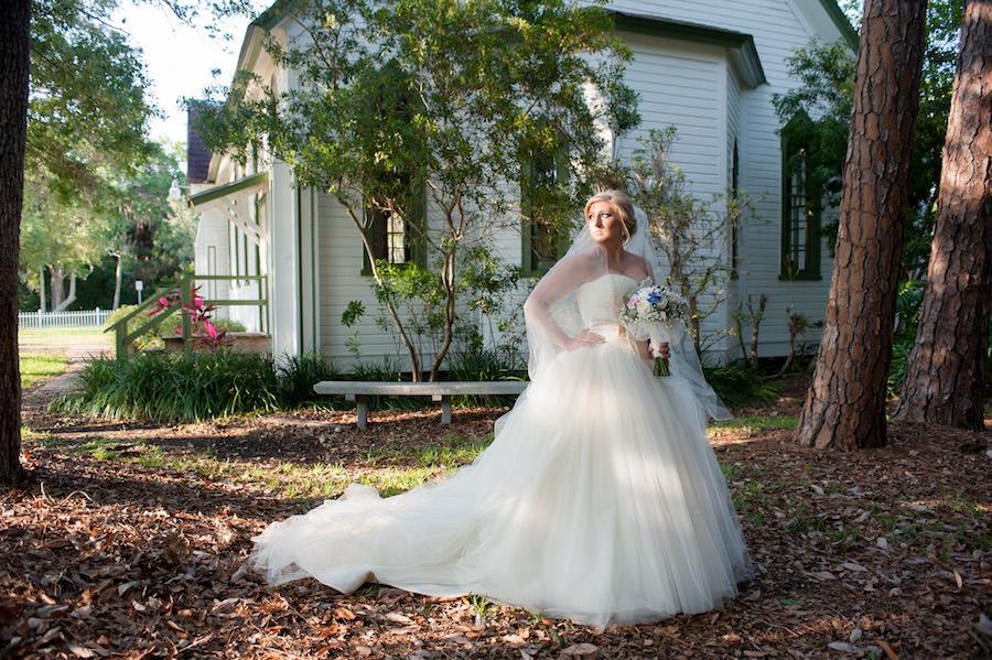 Outdoor, Bridal Wedding Portrait in Ivory, Strapless Vera Wang Wedding Dress