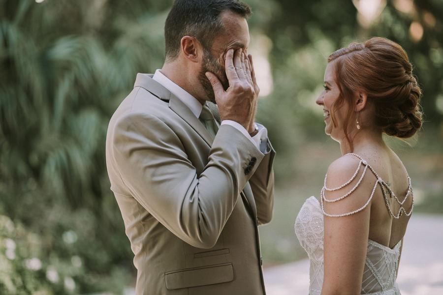 Bride and Groom First Look Wedding Portrait with Groom Crying Reaction | Sarasota Wedding Photographer Brandi Image Photography