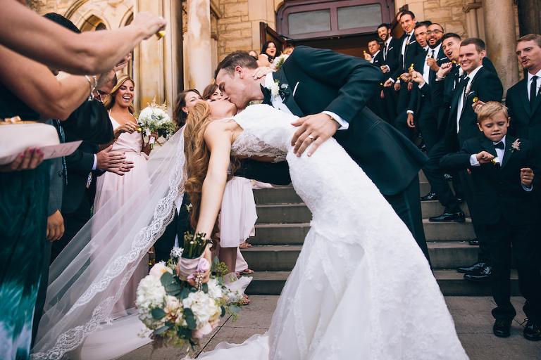Outdoor Florida Bride and Groom Wedding Ceremony Recessional Kiss Portrait | Tampa Bay Wedding Photographer Brandi Image Photography