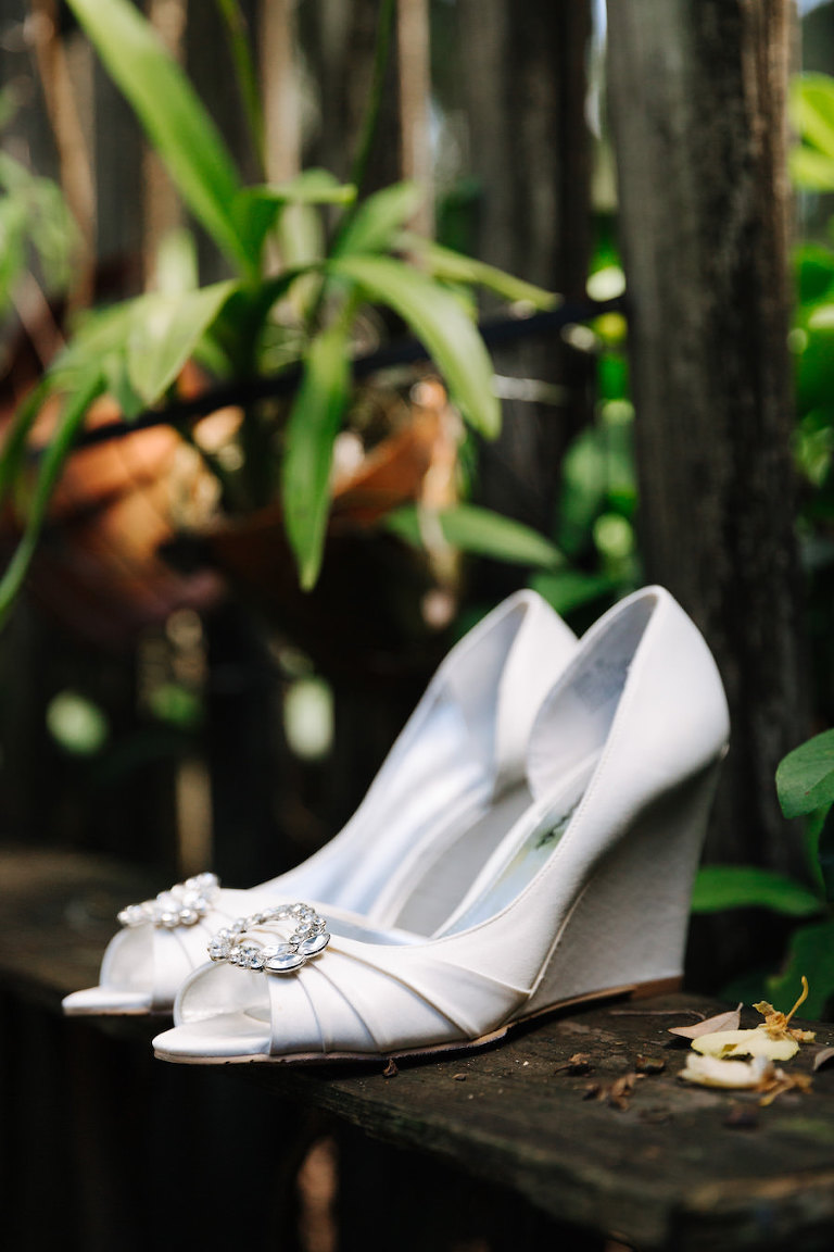 White, Wedge Wedding Shoes with Rhinestone Accent