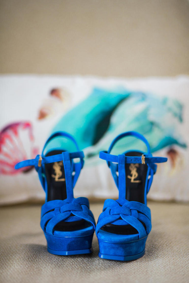 Blue Open Toed YSL Yves Saint Laurent Wedding Shoes