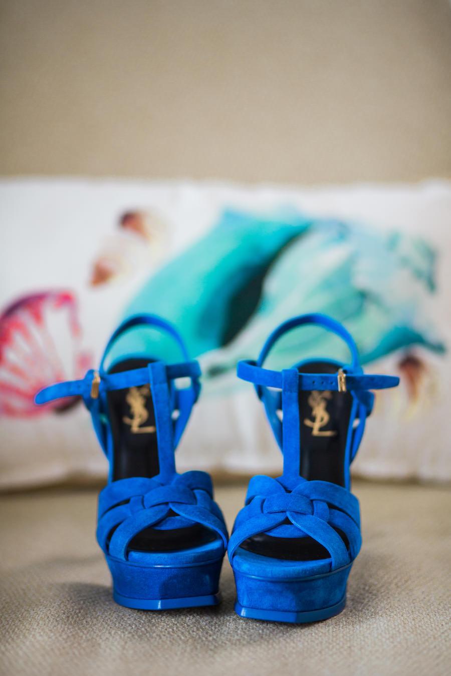Blue Open Toed YSL Yves Saint Laurent Wedding Shoes