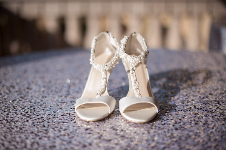 White, Bridal Wedding Shoes with Pearl, Beaded Straps