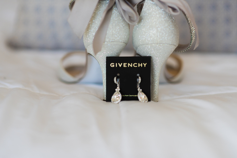 Bridal Jewelry: Teardrop Givenchy Earrings with Ivory and Silver Sparkle Open Toed Heels