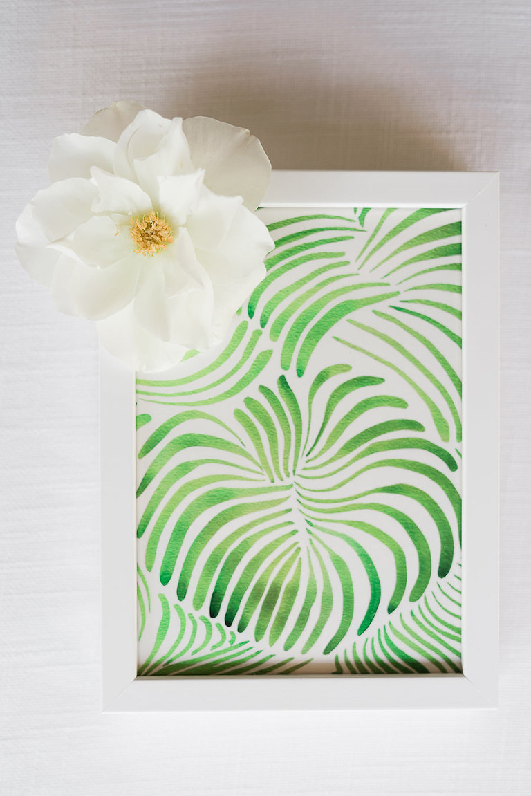 Palm Leaf Inspired Tropical Beach Wedding Print | Minted.com Wedding Invitation Stationery
