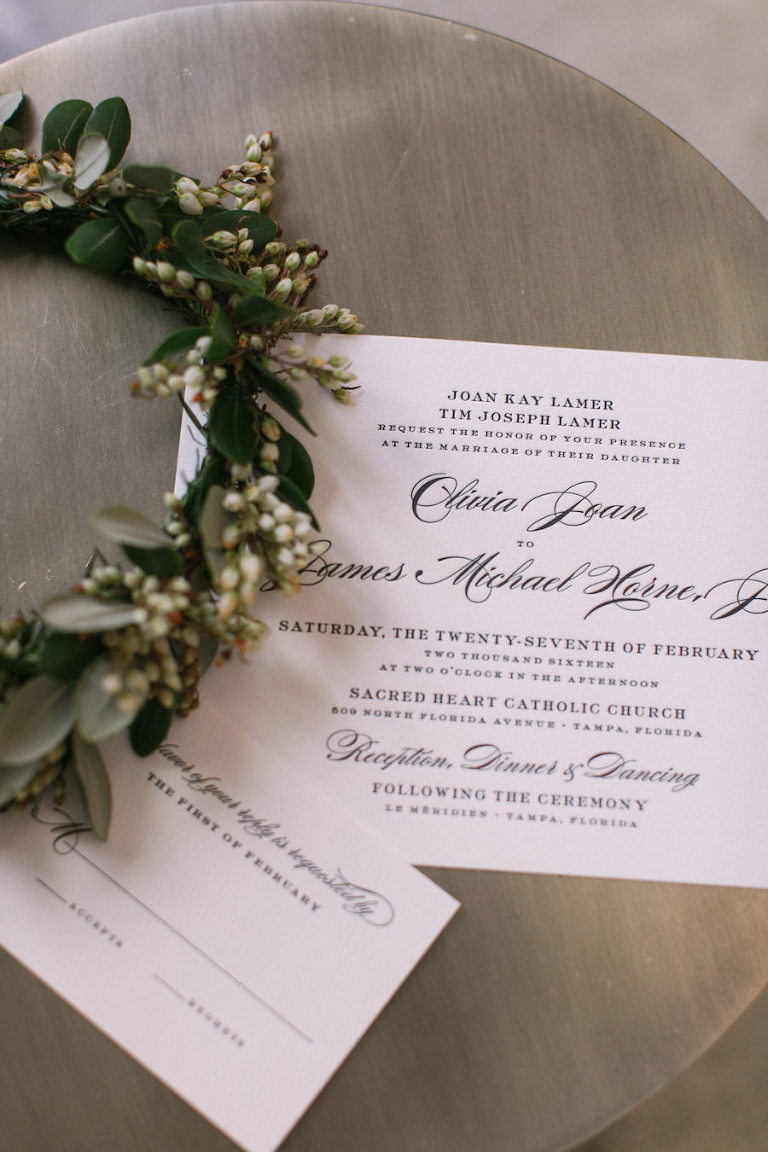 Black and White Wedding Invitation Stationary for Tampa Wedding