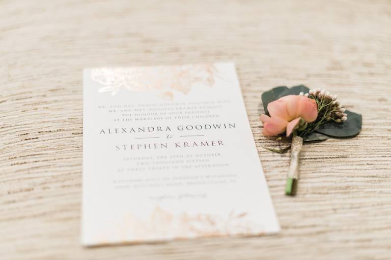 Gold and White Wedding Invitation Stationery and Blush Boutonniere