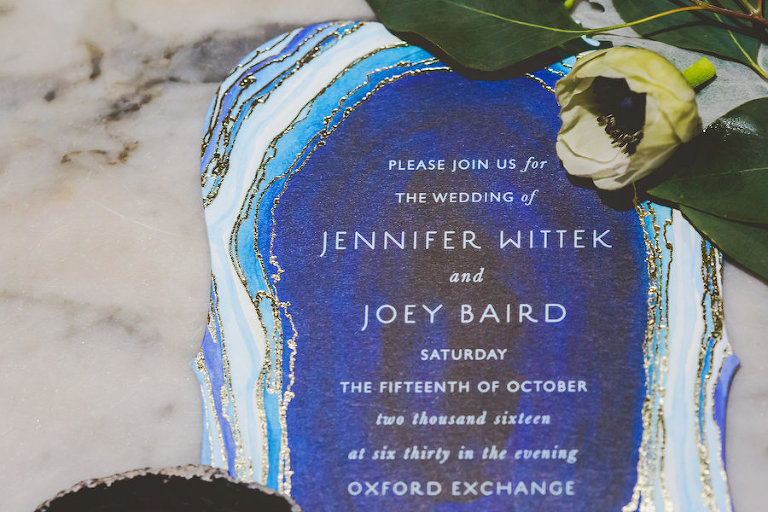 Blue Agate Stone Inspired Wedding Invitation | Vintage Inspired Royal Blue Wedding Invitation
