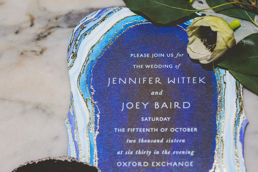 Blue Agate Stone Inspired Wedding Invitation | Vintage Inspired Royal Blue Wedding Invitation