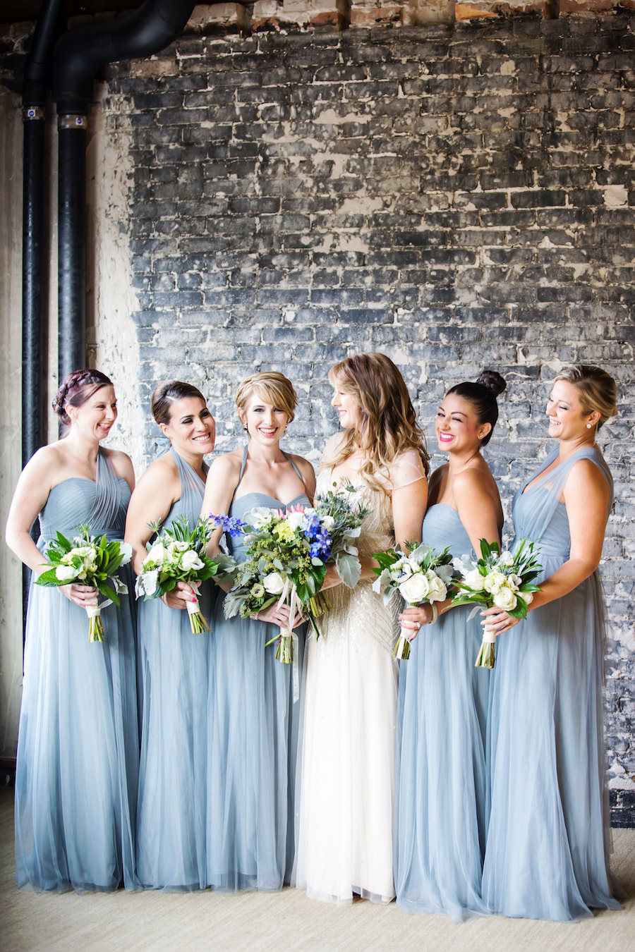 Tampa Bridal Party Wedding Portrait with Grey Blue Jenny Yoo Chiffon Bridesmaid Dresses and Ivory Beaded Jenny Packham Wedding Dress | Tampa Wedding Makeup Artist Lindsay Does Makeup