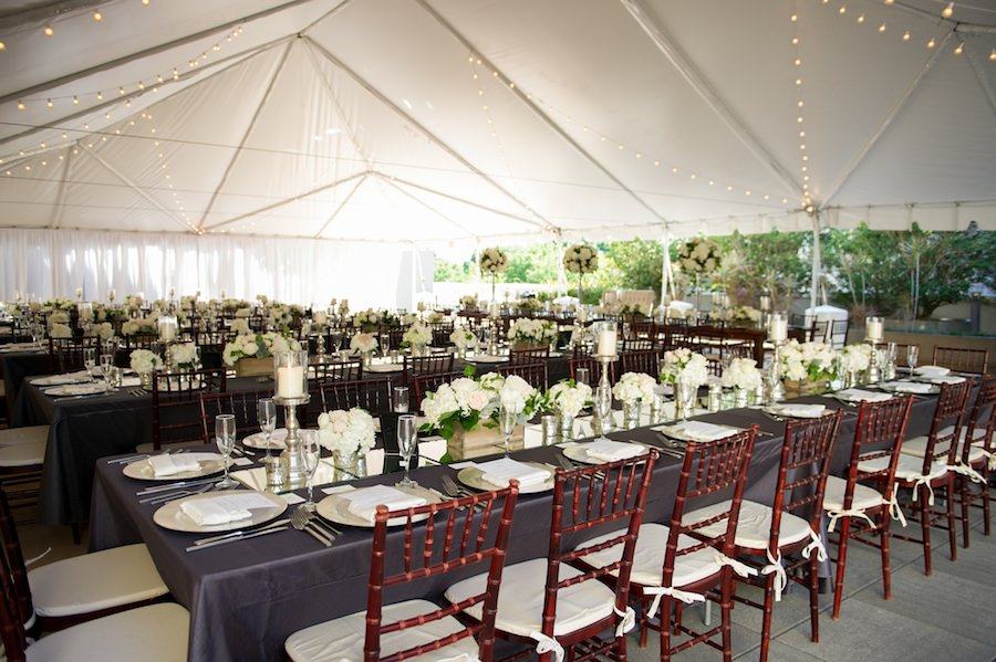 Outdoor Tampa Hotel Wedding Reception Decor With Brown Chiavari
