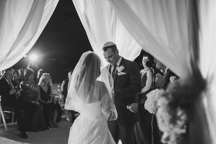 St. Pete Beach Outdoor Jewish Wedding Ceremony and Nighttime with White Draped Chuppah | Iconic Hotel Wedding Venue | Loews Don CeSar Pink Palace Hotel