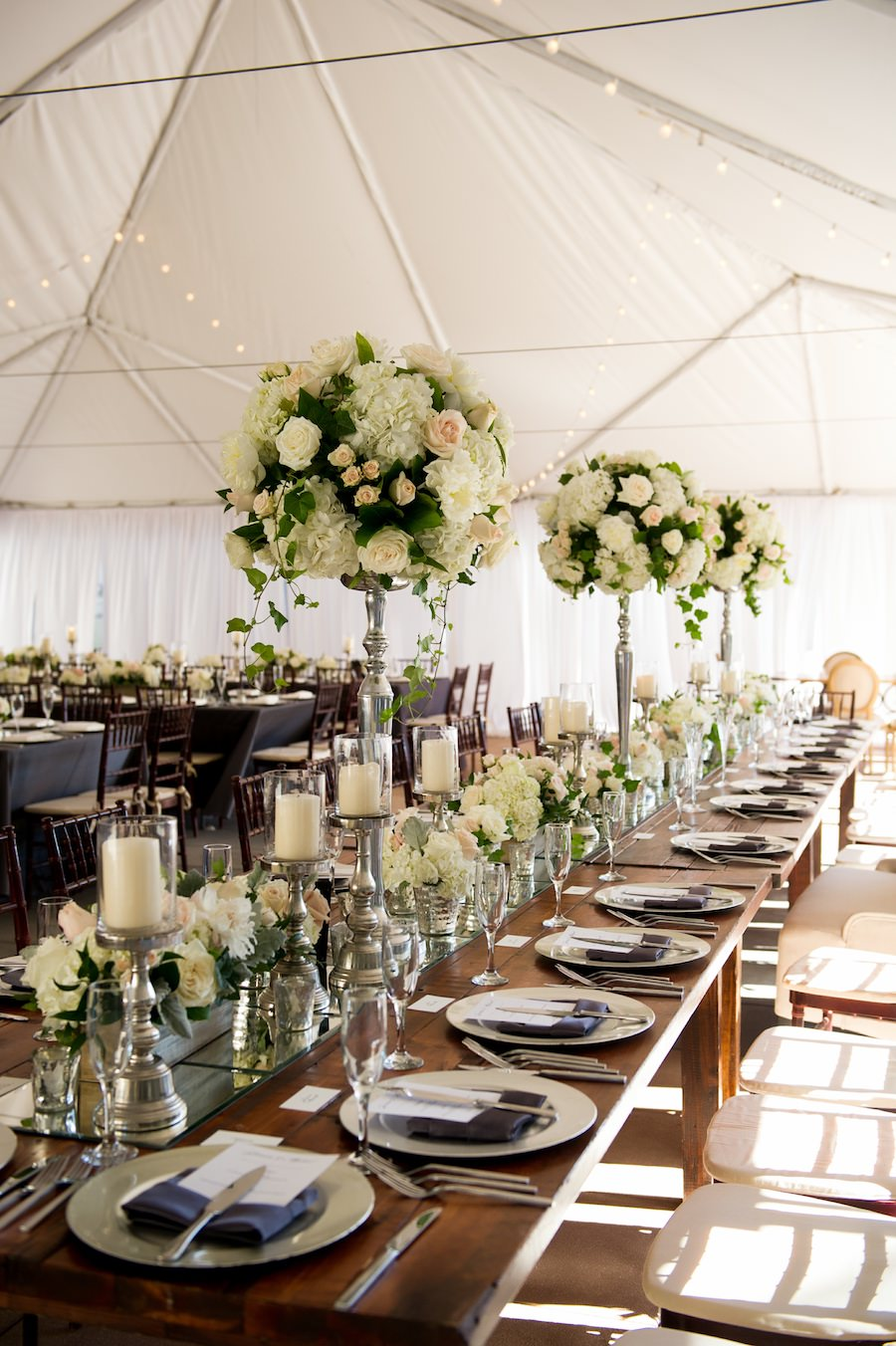Outdoor, Tampa Hotel Wedding Reception Decor with Brown Chiavari Chairs, Grey Linens. and Ivory Floral Centerpieces | Tampa Chairs a Chair Affair, Tampa Rentals Coast to Coast Event Rentals, Tampa Linens Connie Duglin Linens
