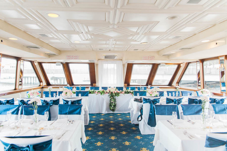 Navy and Nautical Wedding Reception Decor with Pink and Ivory Floral Centerpieces | Tampa Unique Waterfront Wedding Venue Yacht Starship